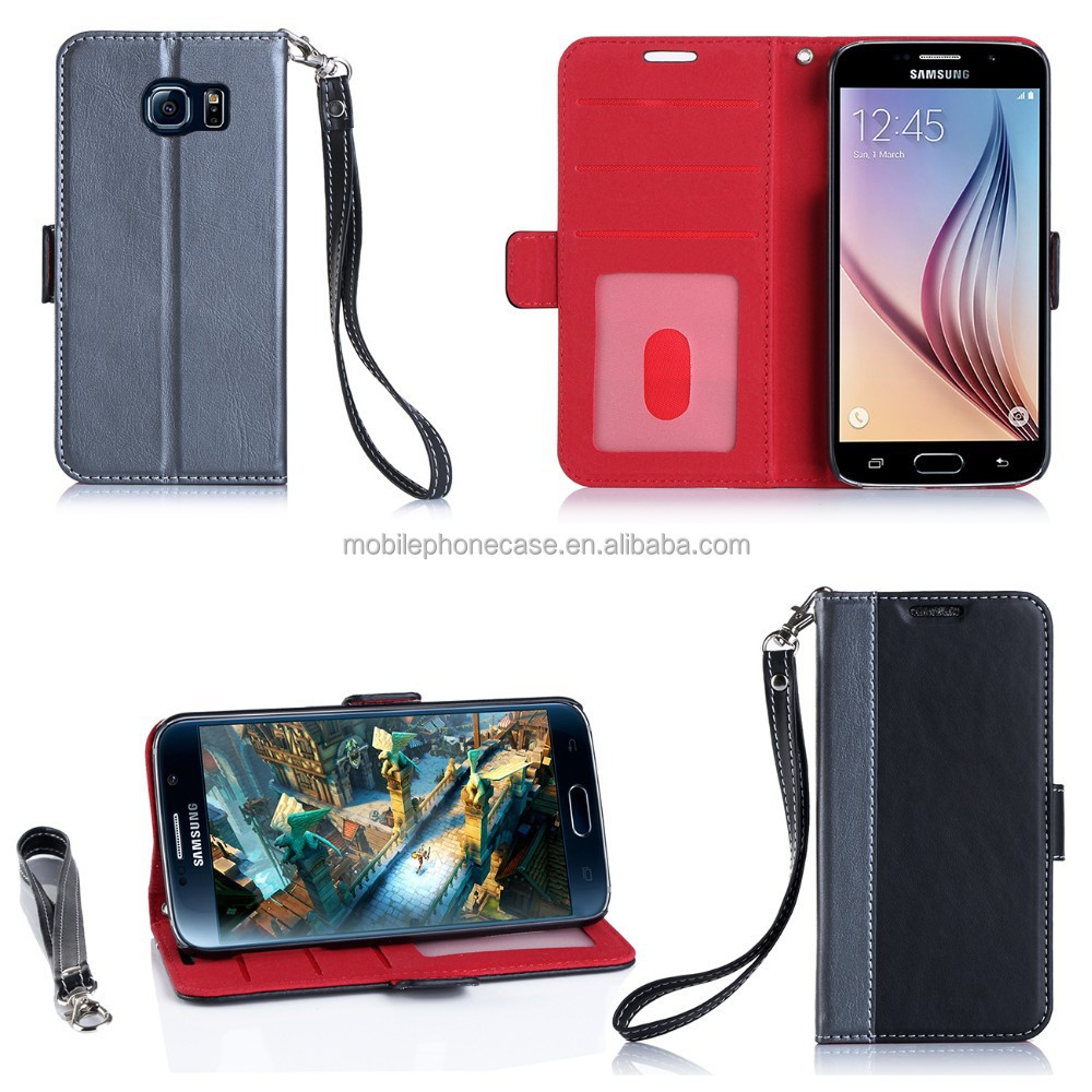Customize Case With Card Holders Full Protect Wallet Cell Phone Case With Hand Strap For Samsung S6