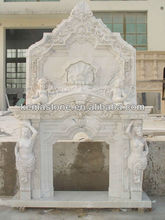 Hand carved european gas fireplace design