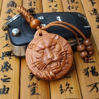 Wholesale High quality tiger head carved lucky wooden keychain