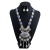 Unique Royal Retro Simulation Gem Long Fringed Necklace With Earrings Women 7 Colors Alloy Leaf Hyperbole Tassel Pendants