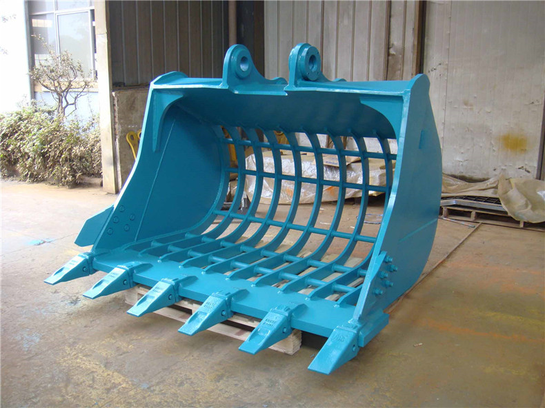 china machinery factory supply attachment parts 1.7m3 screen bucket with round pipe for excavator DX140 on hot sale