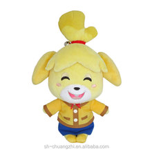 2016 Wholesale Factory customized promational fuzzy Vivid Cute Animal Crossing Smiling Isabelle 6-Inch Plush Stuffed doll Toys