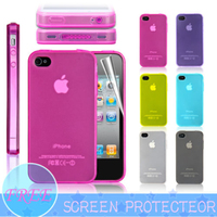 Ultra Thin Silicone Case Cover With Dust Plug For iPhone 4 4S