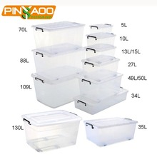 Supermarket Most Hot Sale High Quality Clear Clothing Storage Plastic Storage Container Box Bin from 5L to 130L