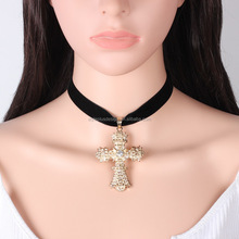 FC409 simplee velvet choker necklaces&pendants vintage fine jewelry womens clothing accessories cross golden statement jewelry