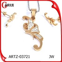 German Stainless Steel Jewelry Gold Plated Fashion Jewelry Sets