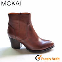 MK217-5 DK TAN china factory wholesale elegant high-end ankle booties for women ladies durable boots
