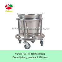 Stainless steel medical good quality movable barrel with wheels