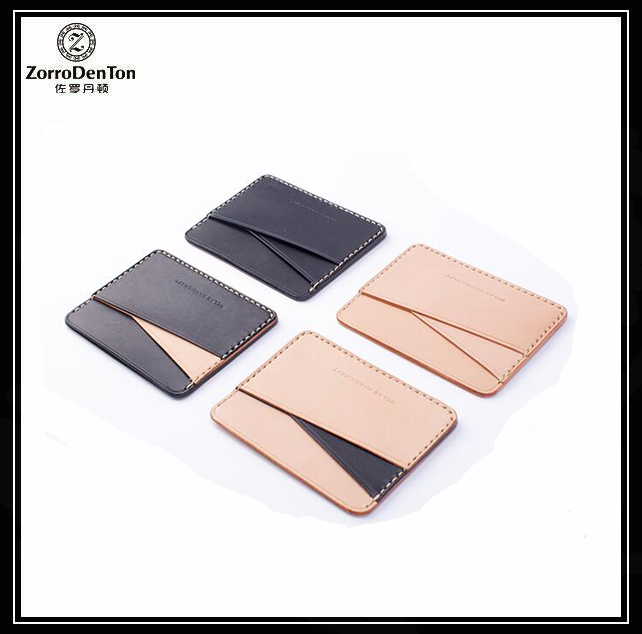 Custom multi color genuine leather credit card holder/ID card holder promotional gift