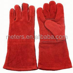 Red Color Leather Welding Gloves 10.5
