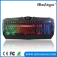 Shenzhen Factory Colorful backlit USB wired computer keyboard for gaming
