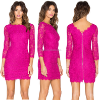 scalloped lace dress in hot pink classic charming scalloped dress at neck,sleeve bottom hem lace dress for holiday parties