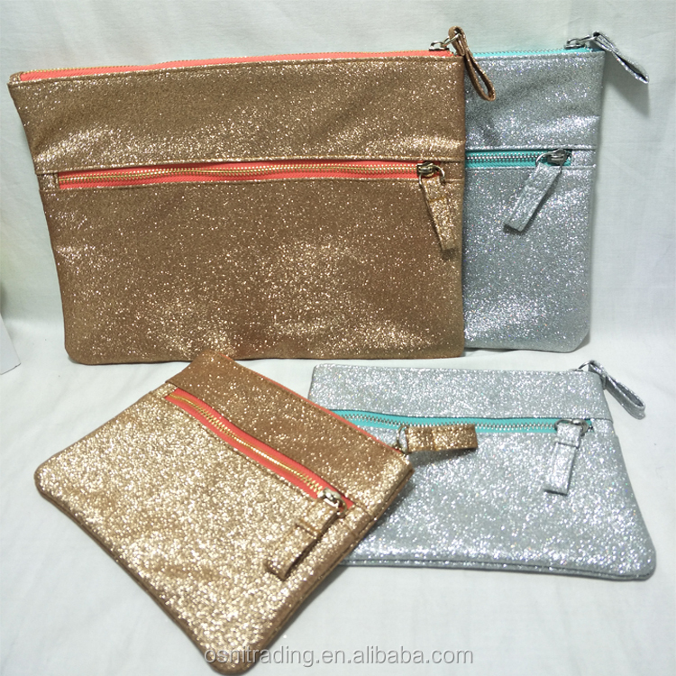 Good quality custom unique trendy shiny glitter two zipper cosmetic makeup bag