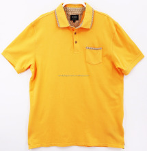 Men's woven collar stand men polo t-shirts