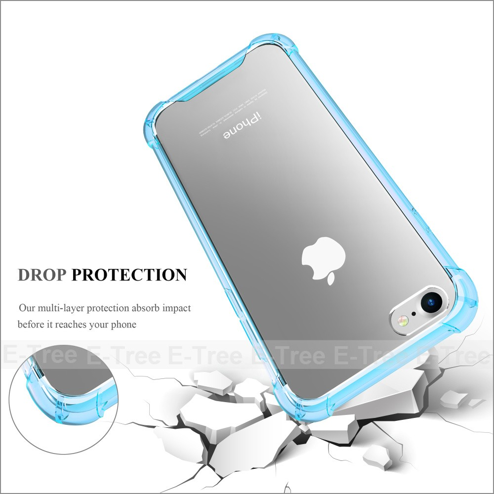 for iPhone 7 Transparent Case, Clear Rugged Anti-Slip Grip Shockproof Bumper Anti-Scratch Back Slim Fit