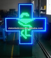 Green and Blue Bicolor LED Pharmacy Cross, animated pharmacy cross Sign 100cm