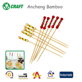 decoration party picks fruit bamboo pick double ball in red