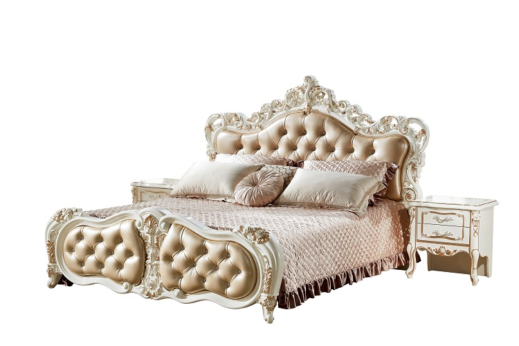 Luxury italian latest model antique leather bed decoration bedroom furniture set