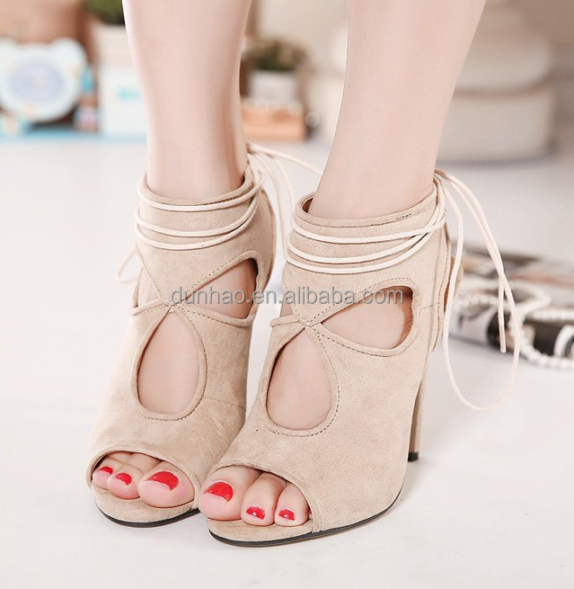 2016 Fashion Cut-out Gladiator Pumps Open Toe High Heeled Sandals Lace-up Ankle Boots