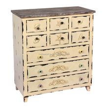 many drawers shabby cream yellow cabinet antique wood living room furniture
