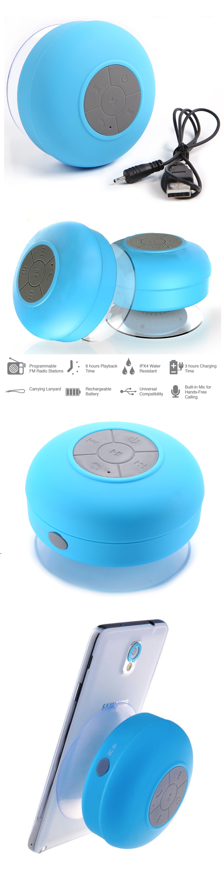New design with led light colorful small rugged waterproof speaker
