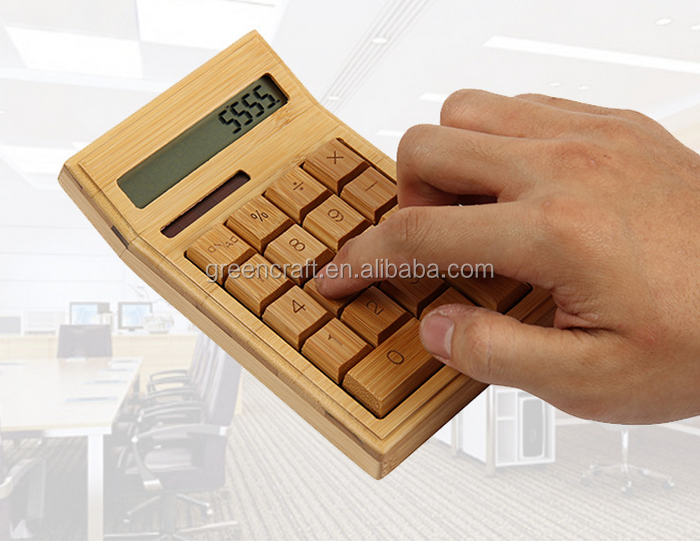 Desk Special Natural Bamboo Calculator Solar Cell