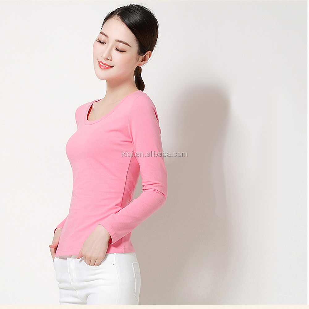 100% cotton round neck long sleeves good quality blank woman t shirt