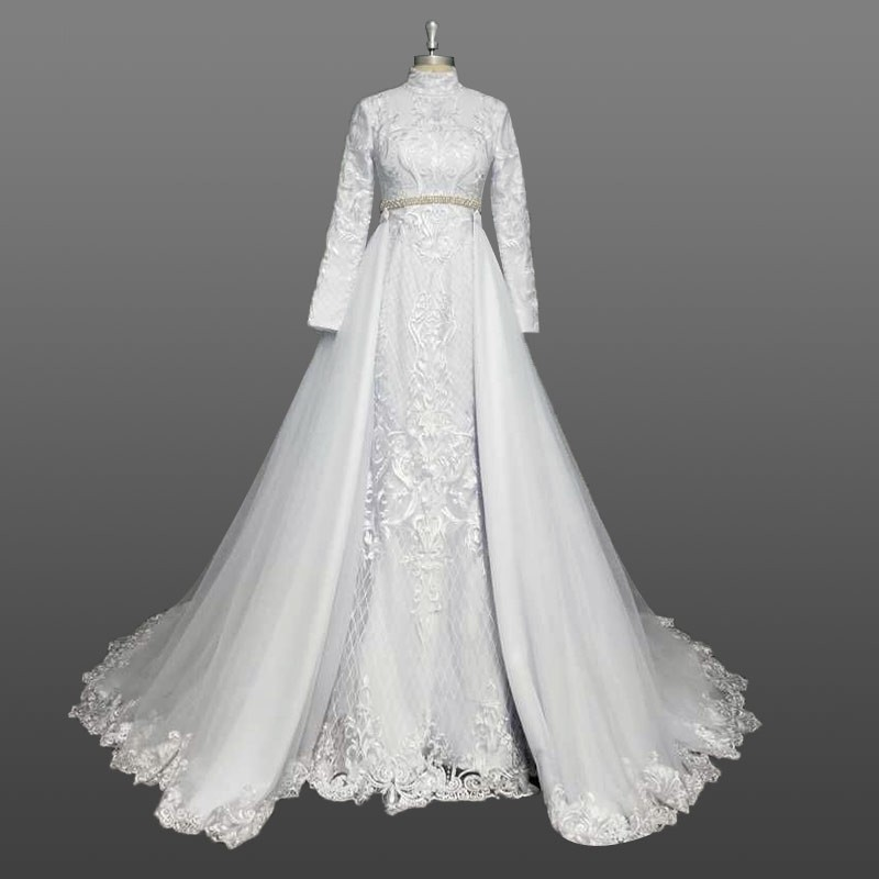 Muslim Wedding Dress 2018 Hijab Fulling Lining Long Sleeve White