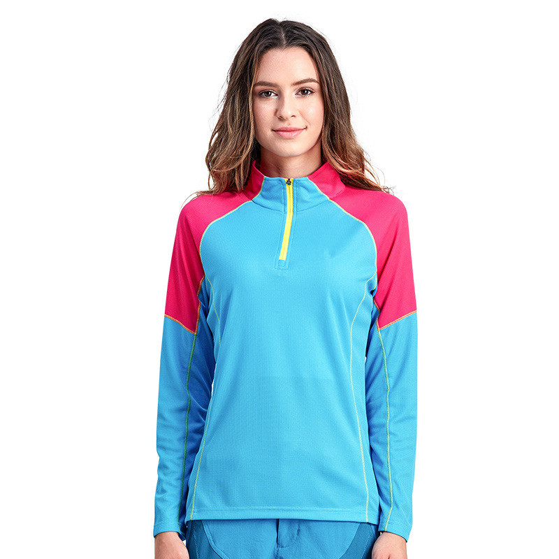 Women outdoor hiking long sleeve t shirts 100% polyester dry fit moisture wicking sports t shirts stand collar tee wholesale