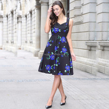 2017 New Women Vintage 50s 60s Rockabilly Rose Floral Print Dress Ruched Elegant Tunic Sexy Mini Formal Evening Party Dresses