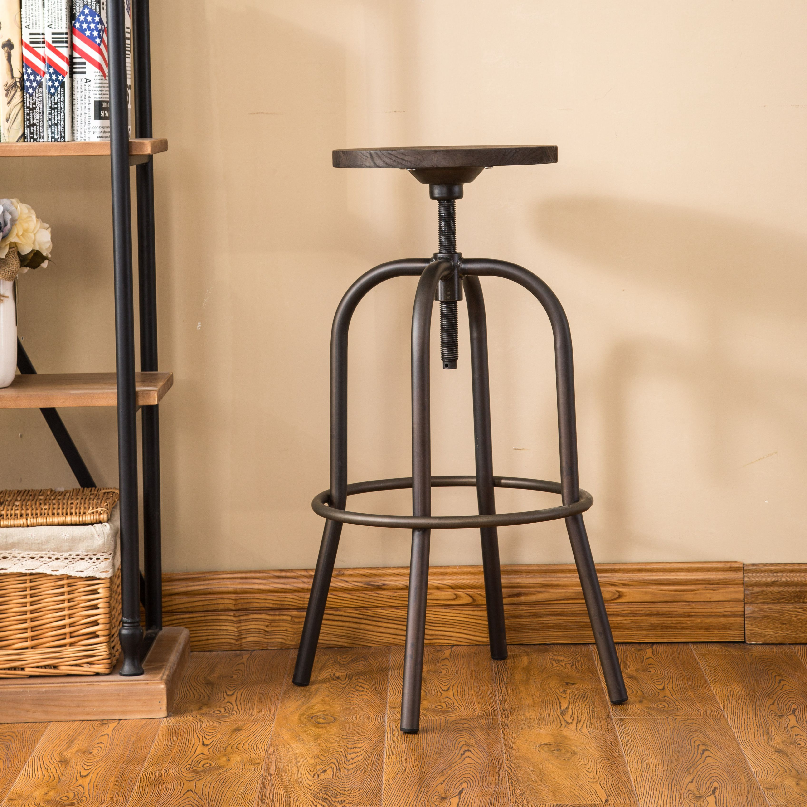 Metal Wood Bar Stool Adjustable Height Swivel Bar Stool L Industrial