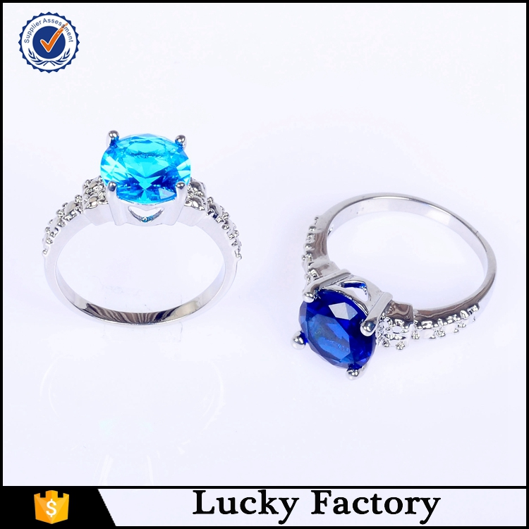 Sales Classic Rings Sparkling Deep Blue and Blue Gem Stone CZ Rings for Women
