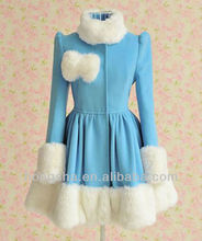 2014 Winter Blue Maomao Skirt Pendulum Wool Trench Coats HSL082