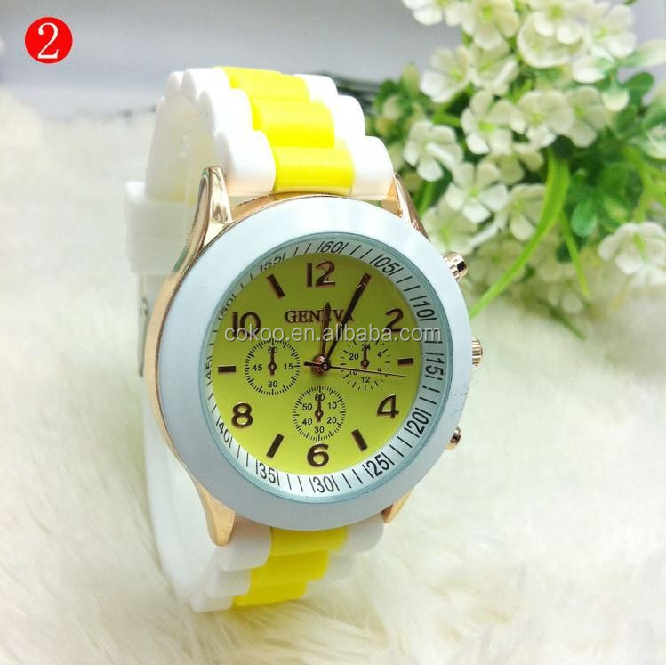 2015 silicone Watch Geneva logo watch hot sale low price Customs watch