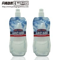 500ml stand up water pouch with custom straw
