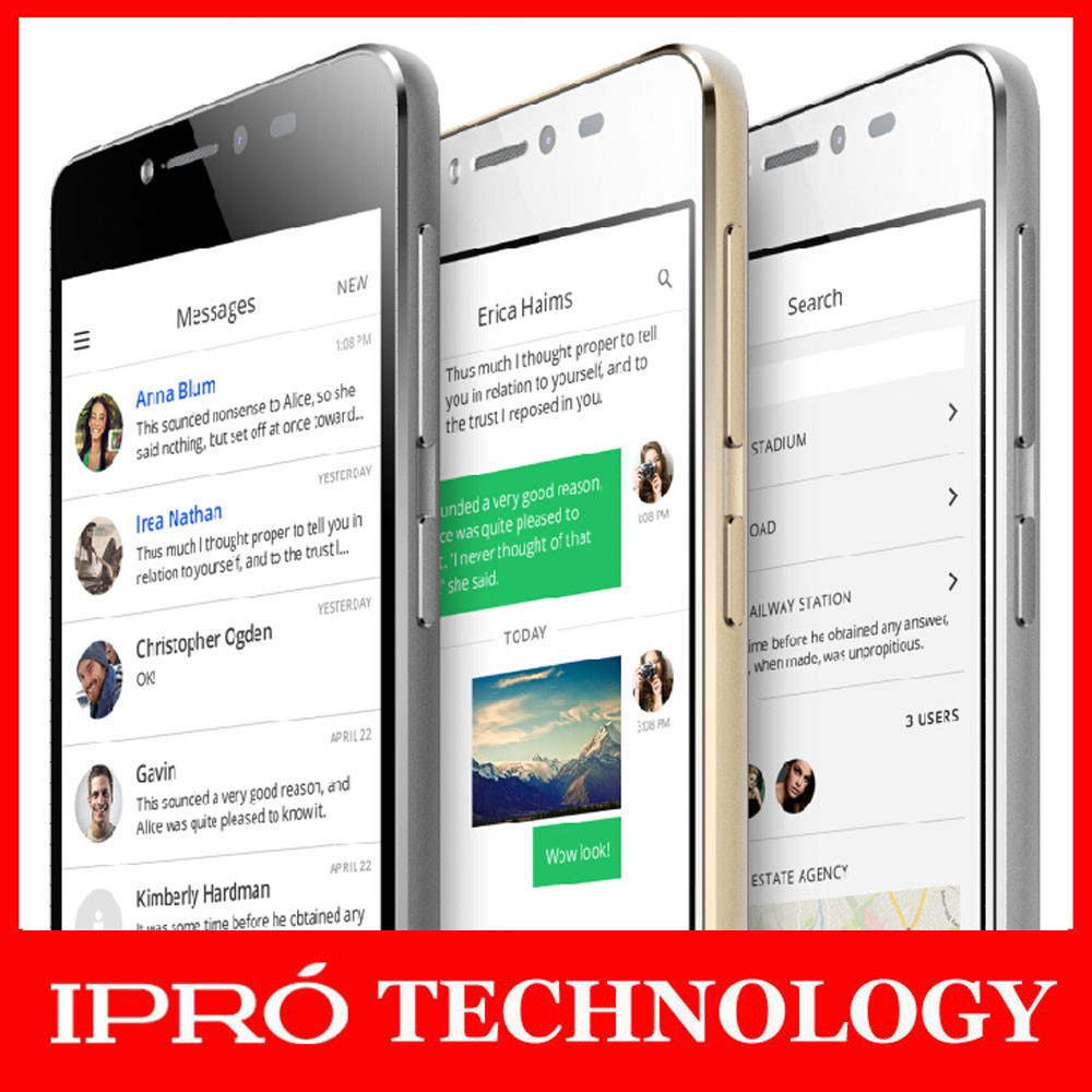 IPRO Wholesale Mobile Phone MTK 6582V/W Android 5.0 Smart Phone Mobile 3G Quad Core Techno Phone Dual SIM Glass Screen 5 inch HD