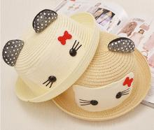 promotional kids baby child lovely pink cartoon hello kitty cat emoji paper straw hat with ears New Summber paper Straw Sun Hats