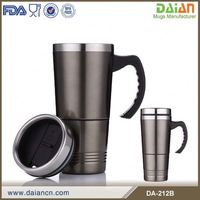 Insulated stainless steel coffee mug with storage cup and handle