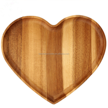 Creative acacia wood heart shaped wooden dry fruit sushi serving tray