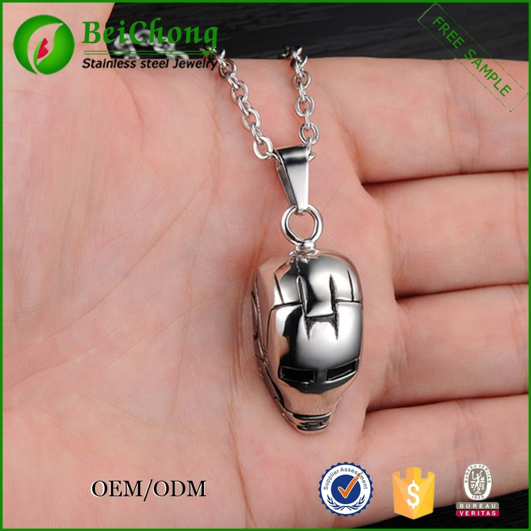 Personality rock icons iron man helmet cast stainless steel necklace,iron man pendant necklace