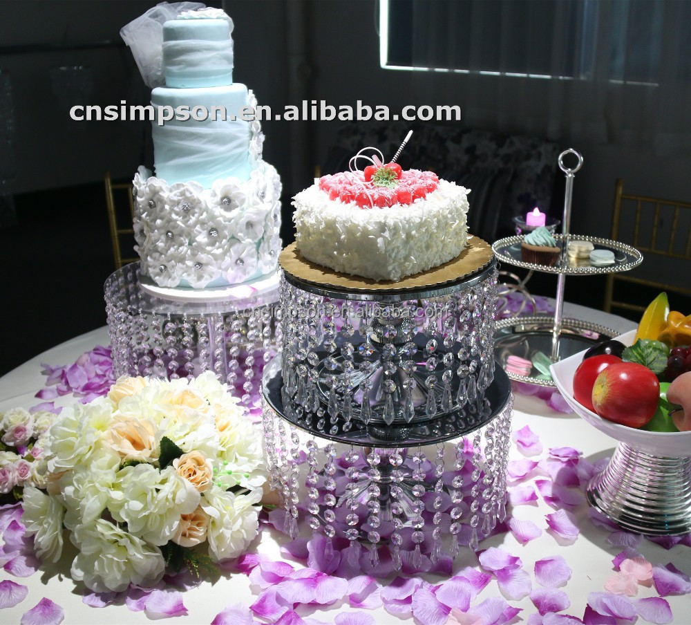 Metal crystal 2 tiers wedding cake stand