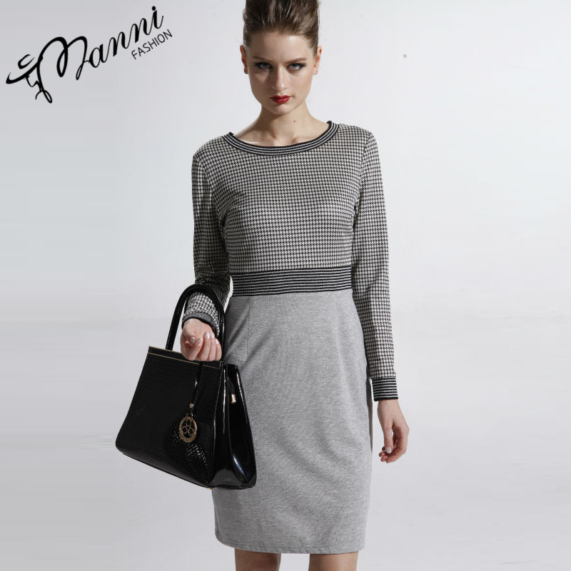 Houndstooth fabric dress with plain color bottom dress