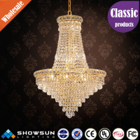 Conical style golden crystal pendant lighting fittings for living room