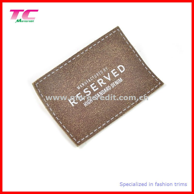 Jeans pu leather label