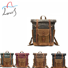 New waterproof roll top backpack mens laptop bags crazy horse leather backpack vintage waxed canvas bag custom factory