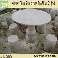 Round Outdoor Marble Stone Tables and Chairs