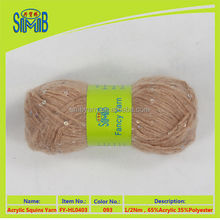 Suzhou huicai hand knitting yarn mill newest hot selling oeko tex quality sew acrylic sequins for knitting scarves