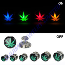 Fashion Marjuana Logo LED Light Up Ear Gauge Plugs Tunnels Earring Expander Piercing Jewelry