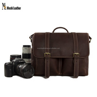 DZ10 Wholesale Customize Dark Brown Vintage Genuine Buffalo Leather DSLR Camera Bag with Insert Pad for Sony Nikon Canon