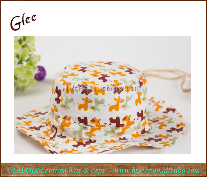 Three Color Pony Flanging Hat Bucket Hat For Children